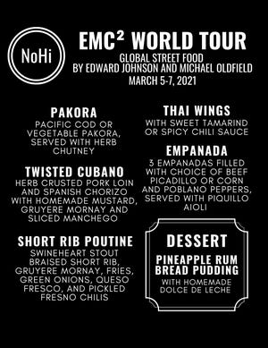 The sample menu for EMC(2) World Tour that will be the featured fare this weekend at the NoHi Pop-Up in Akron's North Hill.