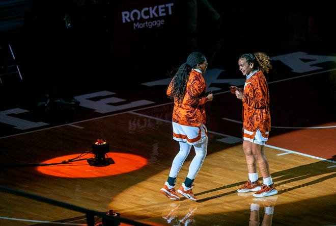 Texas guard Ashley Chevalier, right, greets teammate Joanne Allen-Taylor ahead of the Dec. 2 game against Louisiana Tech at the Erwin Center. As a freshman, Chevalier is playing 14.1 minutes per game.