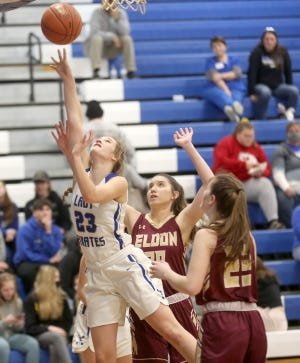 Boonville senior Brooke Eichelberger puts up a shot in the second half Thursday night against Eldon in the season and conference finale at the Windsor gymnasium. Boonville won the game 62-44.