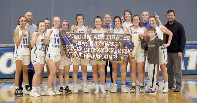 The Boonville Lady Pirates basketball team captured its second straight Tri-County Conference title Thursday night after beating the Eldon Mustangs in the regular season finale 62-44. The Lady Pirates closed out the regular and conference season at 21-2 overall and 7-0 in the TCC.