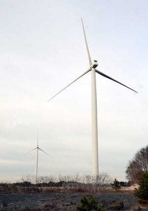 Falmouth officials this week took a step toward getting these two wind turbines dismantled. The inoperable turbines are at the water treatment plant.