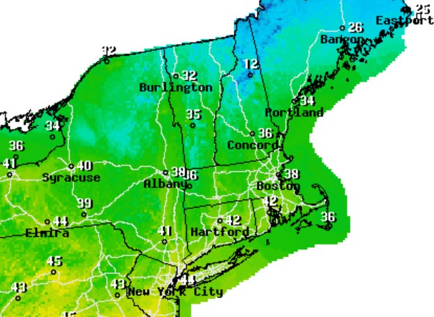 High temperatures today will be in the mid-30s on Cape Cod.