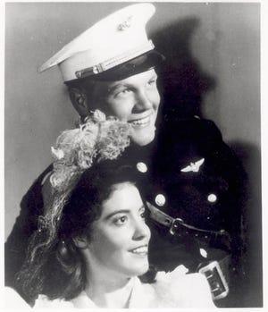 Lt. John H. Glenn Jr. and Miss Anna Margaret Castor on their wedding day, April 6, 1943.