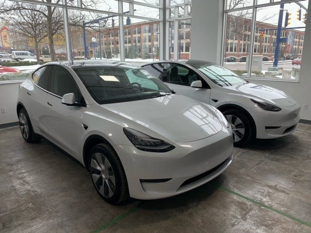 The Logan Police Department expects to receive these two Tesla police cruisers — soon to be outfitted with the department's decal and standard equipment — within the next six to eight weeks.