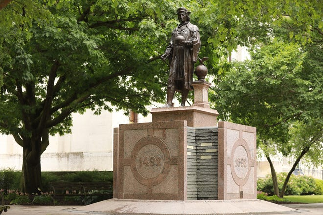 The Christopher Columbus Discovery Monument on the Ohio Statehouse grounds.