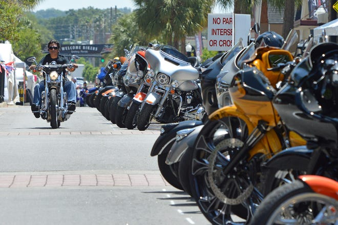 Motorcycles line Main Street during the 2019 Leesburg Bikefest. [Whitney Lehnecker/Daily Commercial]