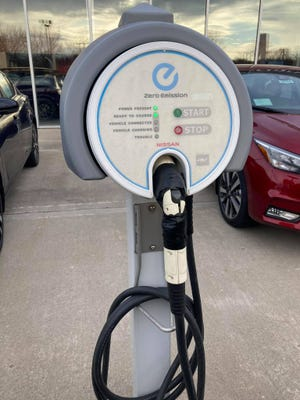 An electric vehicle charging station in Cambridge.