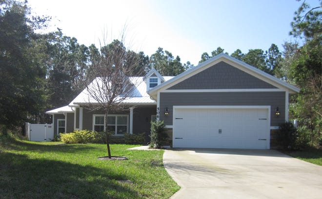 Built on a cul-de-sac in 2016 in the Stonebridge neighborhood of Flagler Beach, this Emerald Drive home has three bedrooms and three baths in 2,154 square feet of living space. It also has an oversized pantry, a patio and a fenced backyard, and it sold recently for $365,000.
