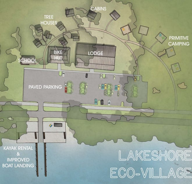A rendering shows what Deltona officials hope to make of the old community center off Lakeshore Drive. The planned Eco-Village would have a lodge, bicycle shop, treehouses, cabins, primitive camping sites and kayak rentals.