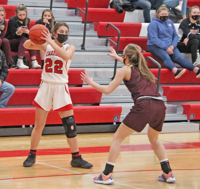 Coldwater was led in scoring by Jayla Foster (22), shown here in early season action, as the Cardinals fell to Harper Creek Thursday night.