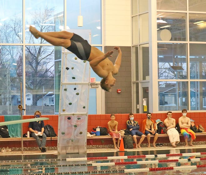 Coldwater's Cole Neitzka celebrated Senior Night as the only CHS Senior by leading the Cardinals to their first win of the new year. Neitzka took wins in the 1-Meter Dive and in the 100 meter Freestyle swim