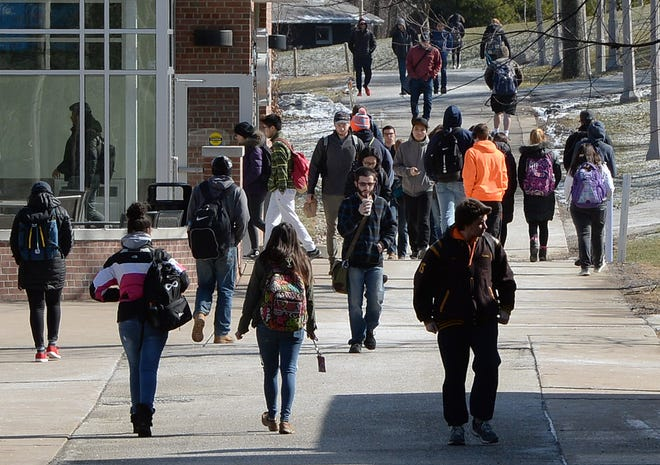 Penn State Behrend students head to class at the Harborcreek Township campus in this file photo from March 2017.  [GREG WOHLFORD/ERIE TIMES-NEWS]