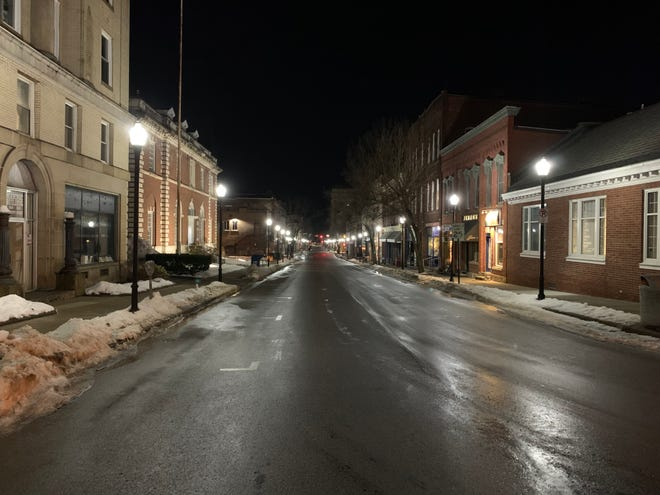 Chestnut Street in Meadville is illuminated by the glow of new ornamental LED streetlights. Energy savings are expected to pay for the city's portion of the lights in about 18 months.