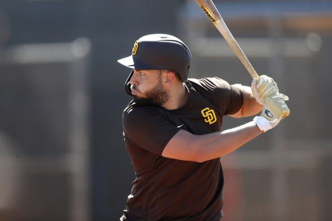 San Diego Padres first baseman Eric Hosmer bats during a spring training practice Wednesday in Peoria, Arizona. The former Royal changed his swing again in 2020 and hit more balls in the air than he had previously. He hopes tp carry that momentum into the 2021 season.
