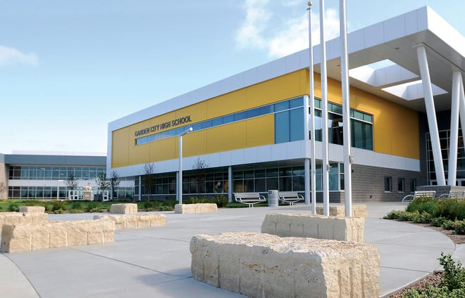The main entrance for Garden City High School is located on the southwest side of the building.