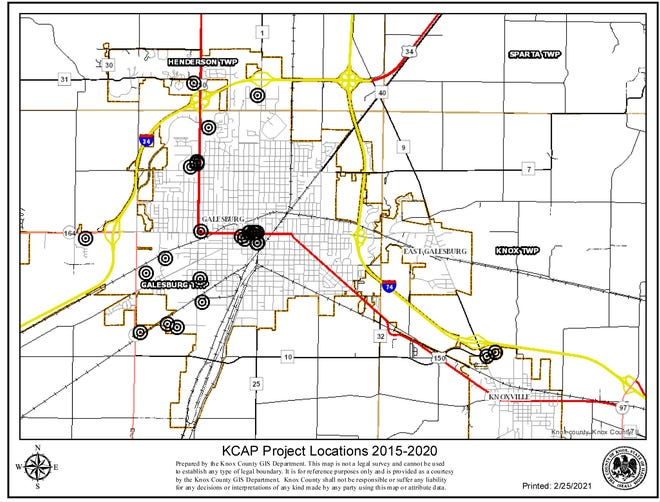 This map shows the Knox County Area Partnership for Economic Development project locations in Galesburg.