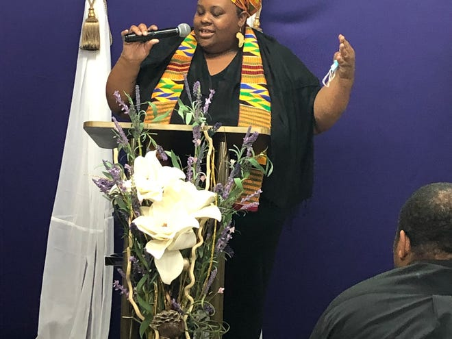 """In this file photo, Crystal Cauley performs her spoken-word piece """"Unlived Dreams"""" at the Rise Up! 2021 event, live-streamed Feb. 25, 2021 from Agape World Outreach Church."""