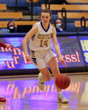Harlie Wilson heads for the basket during the Salthawks matchup against Maize. On senior night, Hutch fell to the Eagles 46-29.