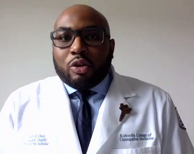 Maurice Dale, a fourth-year medical student at the Kirksville College of Osteopathic Medicine, speaks during a virtual panel organized by A.T. Still University. He and three other panelists talked about their experiences as Black men in the medicine field.