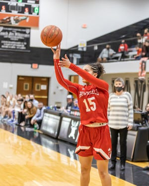 Brownfield's Gabi Field attempts a shot during a Class 3A regional quarterfinal game Thursday, Feb. 25, 2021, against Childress at Canyon Randall High School. [Courtesy photo/Thomas D. Carver]
