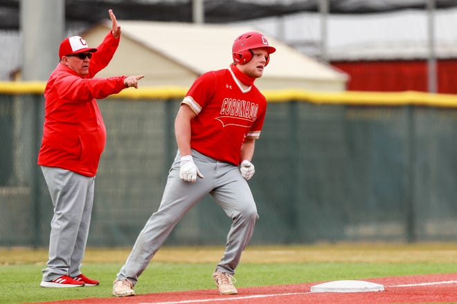 Coronado's Charlie Robinson (7) rounds third after hitting a triple against Caprock during the First Bank Classic on Feb. 26 at First United Park in Woodrow.