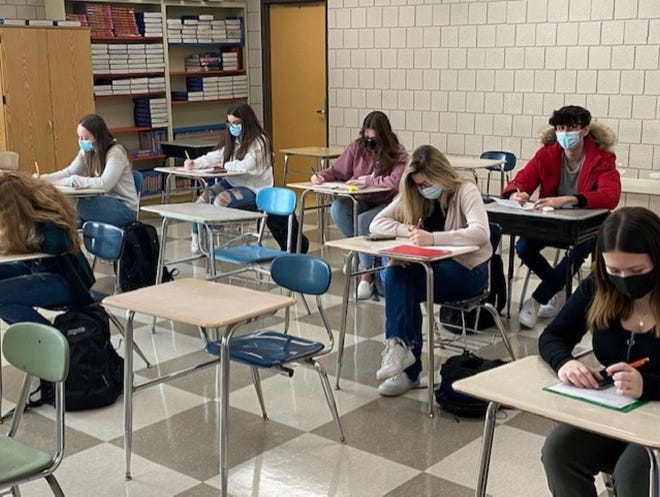 Students are hard at work in Masten Woodward's Social Studies class at Leominster High School during the return to hybrid learning the week of Feb. 22.