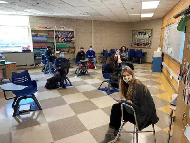 Leominster High School juniors sit in Sarah Piragis' Spanish III Class during the return to hybrid learning the week of Feb. 22. For LHS sophomores, juniors and seniors, this was the first time there have been in-person classes since the start of the COVID-19 pandemic in March 2020.