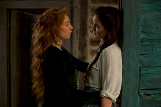 The forward Tallie (Vanessa Kirby) shares her thoughts with the shy Abigail (Katherine Waterston).