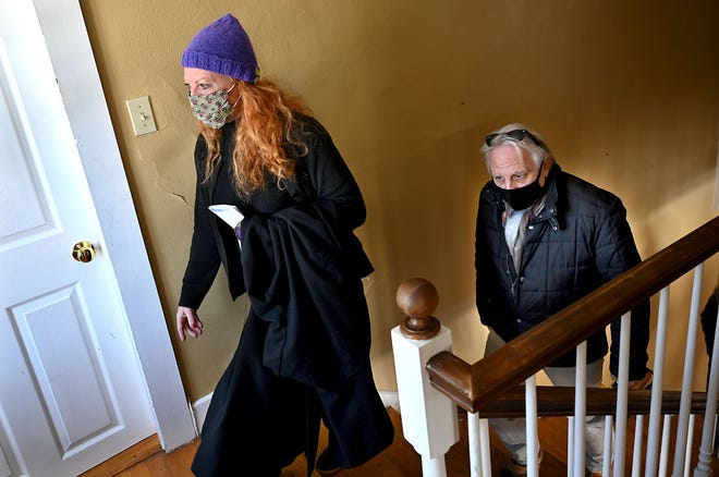 Kate Valentine, left, of Nyack, New York, is a descendant of the original Valentines who lived at 133 West Union St. in Ashland as far back as the 1700s. Late last month, she was given a tour of the Valentine estate by David Foster, the town's project manager of the Warren District and Valentine Estate.
