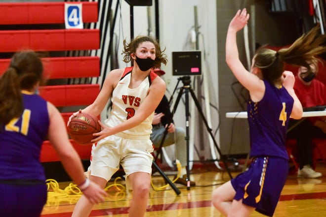 Morgan Brewer (3), who is shown during a game earlier this season, has been one of Vernon-Verona-Sherrill's key players during her senior season. She has reached 1,000 career points during the team's shortened season.