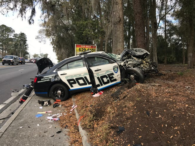This Ocala Police Department cruiser was involved in a crash Friday morning on Southeast 17th Street at Southeast 22nd Avenue. The officer and the other driver were injured.