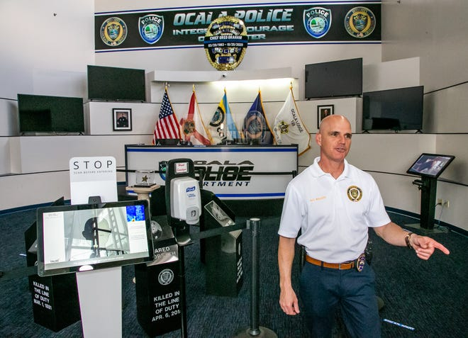 Ocala Police Chief Mike Balken talks about the newly renovated lobby at the Ocala Police Department on Friday. As of today, it will be open once again to the public. It was closed for health and safety reasons during the pandemic.