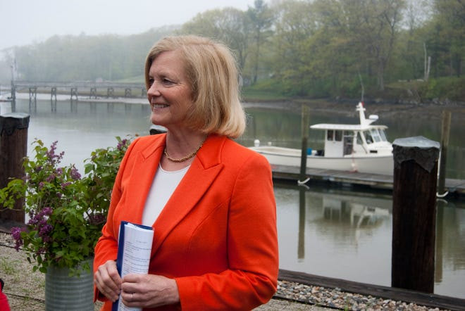 """Rep. Chellie Pingree of Maine participates in a community event at the York River, which she has been working with local community members to have federally designated as a """"wild and scenic"""" river."""