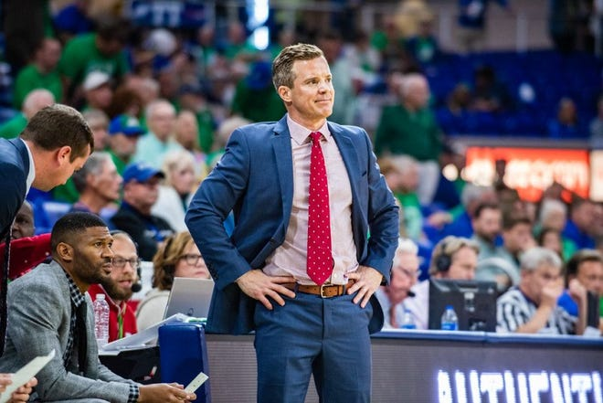FAU coach Dusty May, shown during a game against Florida Gulf Coast University in 2019, is glad the Owls will have an opportunity to play in the Conference USA basketball tournament after all.