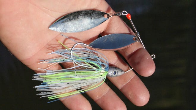 """A popular and productive example of the """"safety pin"""" style spinnerbait."""