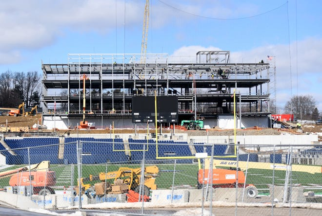 Construction at the Hall of Fame Village powered by Johnson Controls includes the Constellation Center for Excellence, work at Tom Benson Hall of Fame Stadium and the surrounding neighborhood.