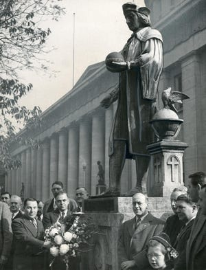 October 12, 1944 -- Statue of Christopher Columbus in Ohio Statehouse yard on Columbus Day .