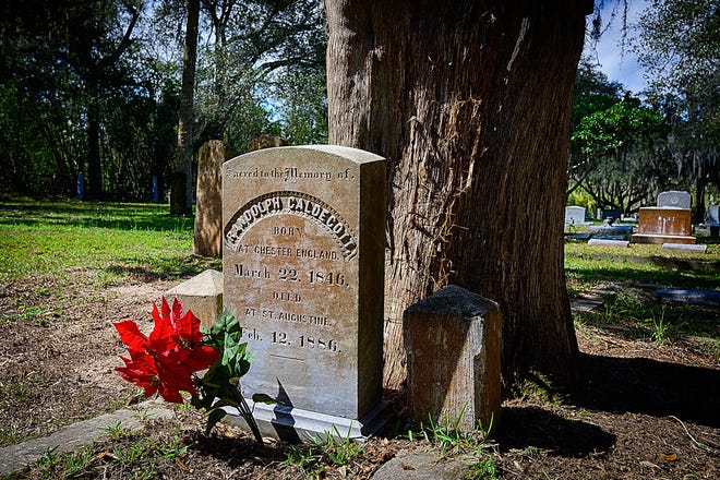 English author and illustrator Randolph Caldecott's grave is in the Evergreen Cemetery in St. Augustine. Caldecott died and was buried in St. Augustine in 1886 of heart disease.