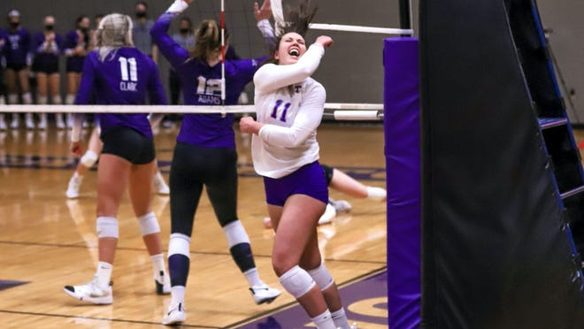 Tarleton's Lauren Kersey reacts to a play against TCU on Thursday night in the Wisdom Volleyball Gym. Kersey jad 16 kills on a match-high .520 hitting percentage and now has eight straight matches with double-digit kills.