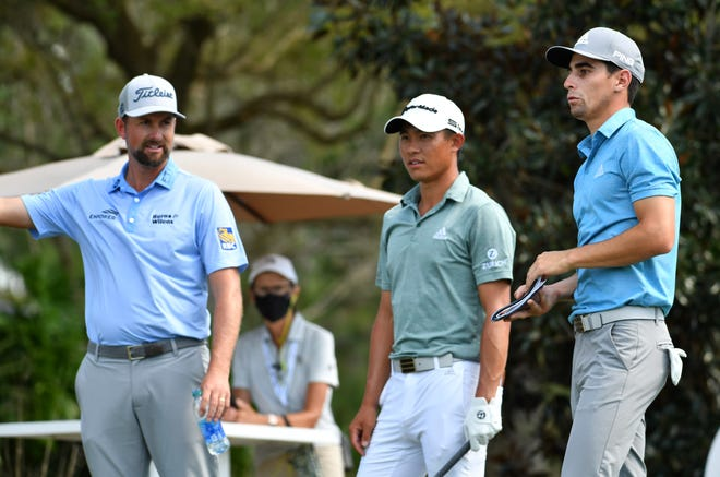 From left, Webb Simpson, Collin Morikawa, and Joaquin Niemann discuss Niemann's tee shot off the 10th hole during the first round of the World Golf Championships-Workday Championship at The Concession on Thursday in Bradenton.