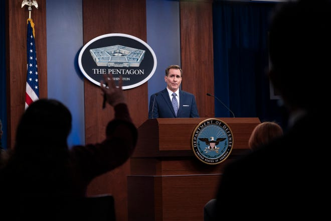 """FILE - In this Feb. 17, 2021, file photo, Pentagon spokesman John Kirby speaks during a media briefing at the Pentagon in Washington. A U.S. airstrike targeting facilities used by Iran-backed militias in Syria appears to be a message to Tehran delivered by a new American administration still figuring out its approach to the Middle East. Kirby said the operation in Boukamal, Syria, sends an unambiguous message: """"President Biden will act to protect American and coalition personnel. At the same time, we have acted in a deliberate manner that aims to deescalate the overall situation in eastern Syria and Iraq."""" (AP Photo/Alex Brandon, File)"""