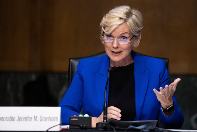 Former Gov. Jennifer Granholm, D-Mich., testifies before the Senate Energy and Natural Resources Committee during a hearing to examine her nomination to be Secretary of Energy, Wednesday, Jan. 27, 2021 on Capitol Hill in Washington. (Graeme Jennings/Pool via AP)