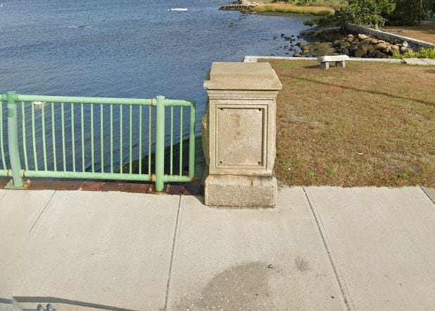 One of the two granite pedestals on the Fairhaven side of the New Bedford-Fairhaven Bridge with the once-affixed plaque missing.