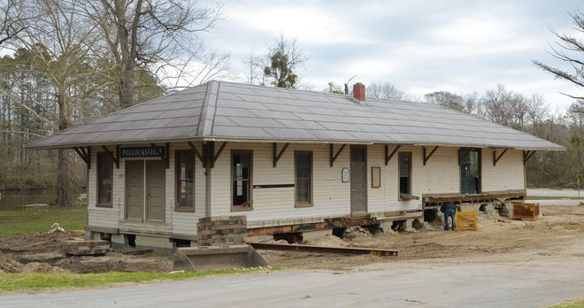 The restored train depot that formerly served as the Pollocksville Town Hall will be relocated on Wednesday, March 3 from its current location near the town's boat landing to 314 Main Street. The building has been closed since it was flooded during Hurricane Florence in 2018. Plans call for it to be restored to its pre-hurricane condition. [TODD WETHERINGTON / SUN JOURNAL STAFF]