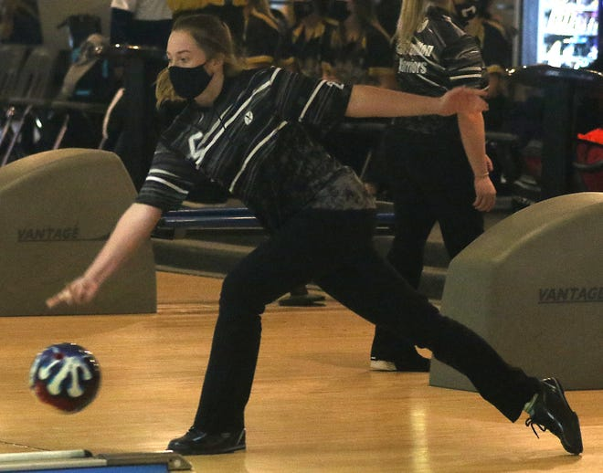 Carrollton's Cailyn Bright rolls the ball down the lane in the Division II Sectional at Boulevard Lanes. She went on to win the individual Division II State Championship.
