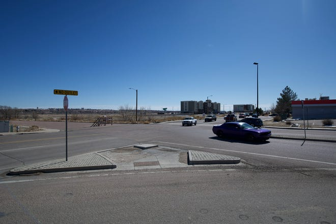 The intersection of Dillon Drive and Eagleridge Boulevard, pictured here on Feb. 26, 2021, can be a sticking point for traffic. Pueblo City Council hopes to have a roundabout installed here to help improve driving through the busy intersection.