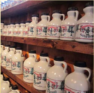 Sweet maple syrup is the delicious end product of the maple sugaring process.