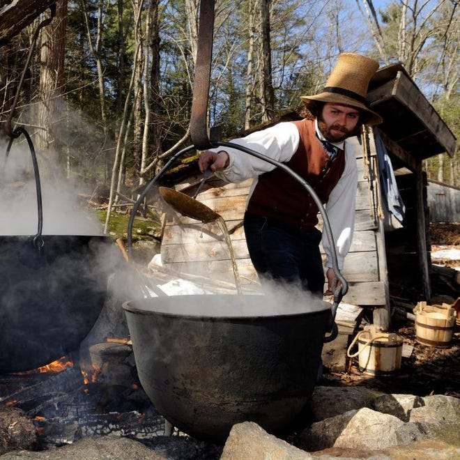 Visitors can see sap made into sweet syrup during Maple Days at Old Sturbridge Village held weekends throughout the month of March.