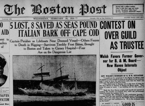 The front page of the Boston Post from Feb. 18, 1914, featuring the wreck of the Castagna in Wellfleet.
