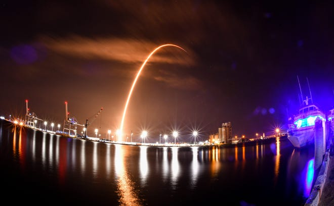 The SpaceX Falcon 9 rocket launches from Cape Canaveral Space Force Station, carrying SpaceX's Starlink satellites that will provide internet service on Earth.